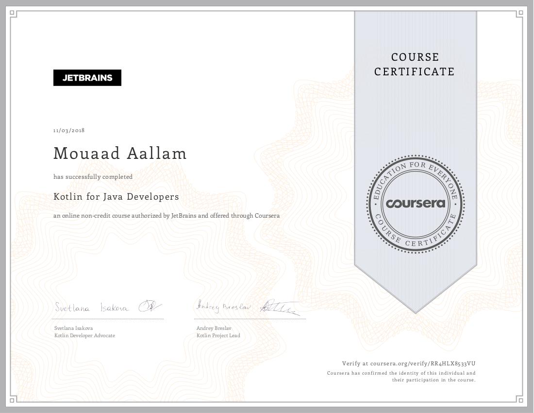 Kotlin for Java Developers Certificate